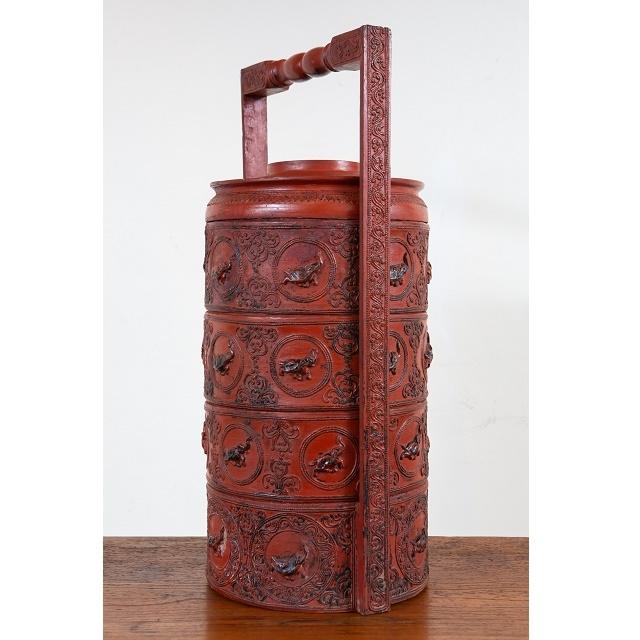 緬甸圓形雕漆提盒